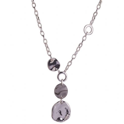 Bisoux Jewellery Grey Resin Disc Mid Length Necklace